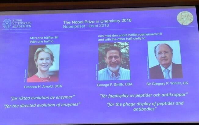 Frances Arnold, George Smith e Gregory Winter foram os laureados pelo Nobel de Química deste ano