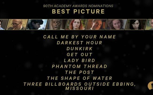 Os indicados a melhor filme de 2018 no Oscar