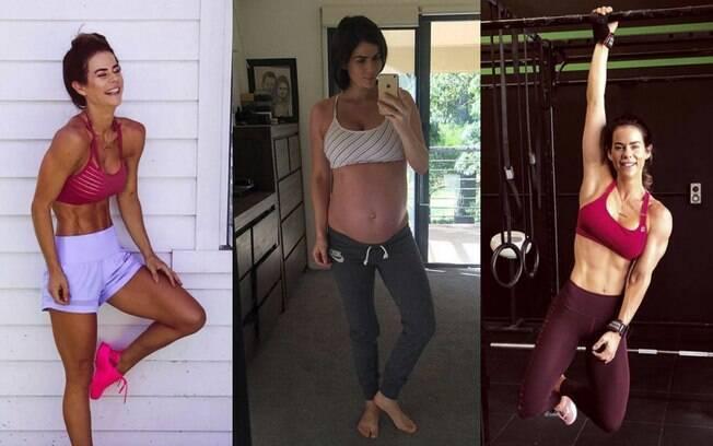 Na foto do meio, Sophie grávida das gêmeas, após já ter conseguido um corpo definido com a mudança de vida