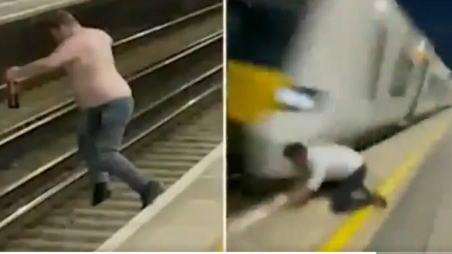 Homem bêbado pula em trilho de ferrovia momento antes de trem passar