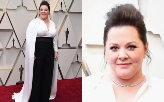 Looks das famosas: Melissa McCarthy apostou em um macacão preto e branco, que foi o diferencial dos visuais no Oscar