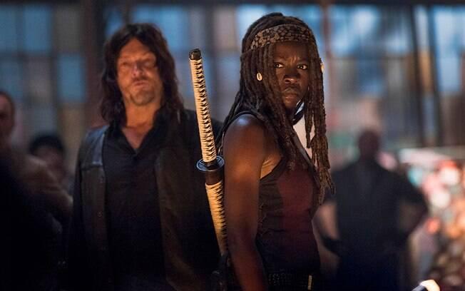Daryl e Michonne em cena de