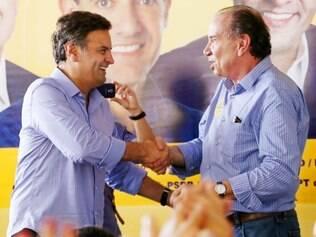Aécio Neves e Aloysio Nunes durante a campanha