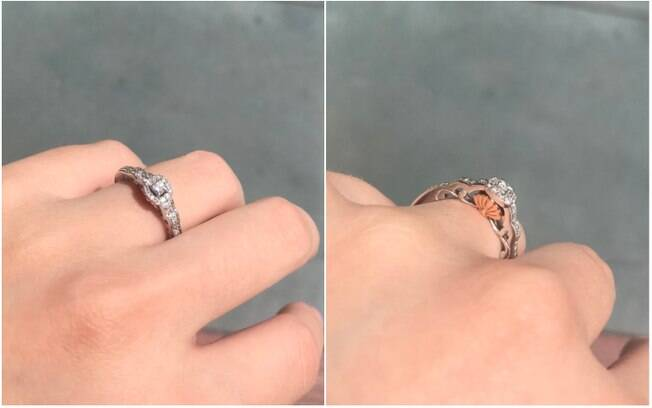 Além de o pedido de casamento duplo ter rolado na Disneylândia, o anel escolhido por Kasey é da linha de joias da Disney