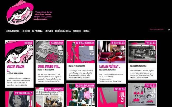 Página inicial do jornal Lamansaguman, escrito e direcionado para as mulheres