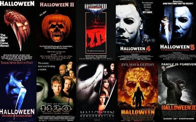 """Os dez primeiros filmes integrantes da franquia de filmes """"Halloween"""""""