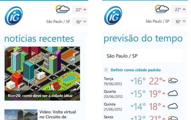 iG Notícias traz conteúdo do iG, informações sobre tempo e trânsito
