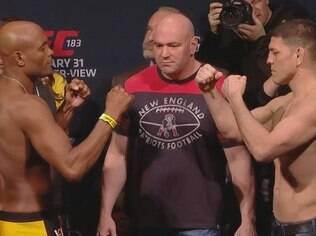 Anderson Silva e Nick Diaz se encaram na pesagem