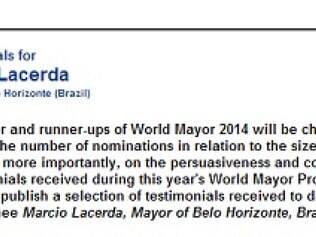 Perfil do prefeito de Belo Horizonte disponível no site World Mayor