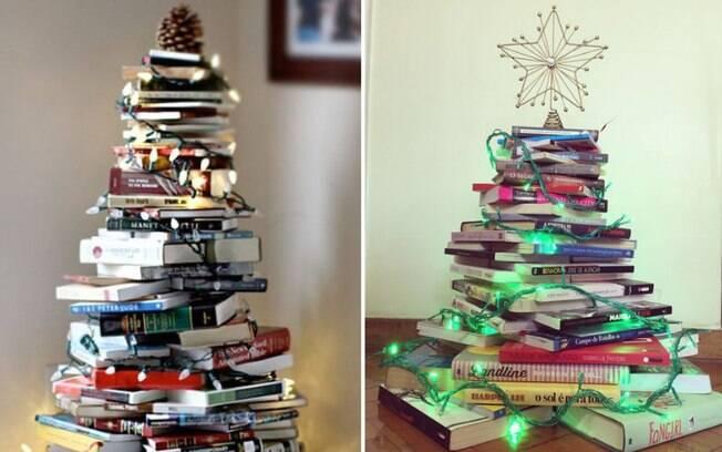 Fãs de livro podem usar essa opção no Natal e ter uma linda árvore com diversos títulos