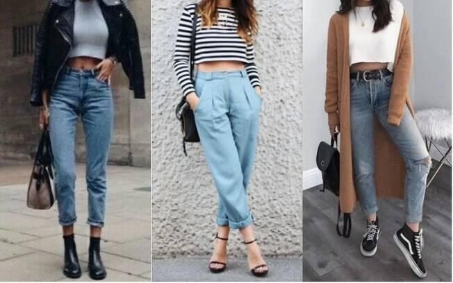 Para usar top cropped durante os dias mais frios, é possível combinar a peça com calças que tenham cintura alta