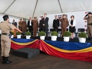 O governador Fernando Pimentel inaugurou nesta quarta-feira (11) a sede do 46º Batalhão da Polícia Militar (BPM) em Patrocínio, na região do Alto Paranaíba