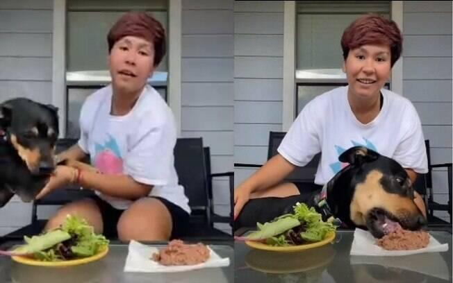 Tiktoker tenta provar que cadela de estimação é vegetariana
