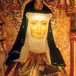 A figura de  Santa Hildegard von Bingen é representada em diversos quadros religiosos