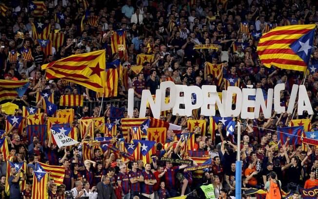 Jogo ficou marcado pela manifestação da  torcida no Camp Nou pela independência da  Catalunha