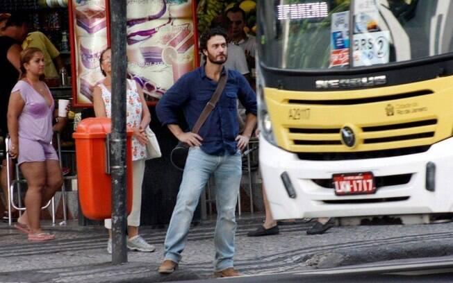 Gabriel Braga Nunes em gravação de
