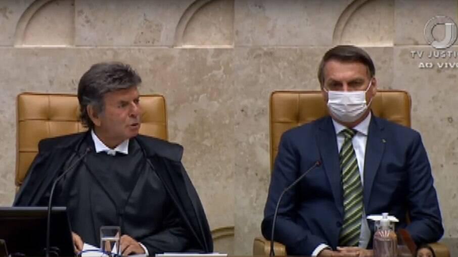 Presidente do STF, Luiz Fux ao lado de Bolsonaro