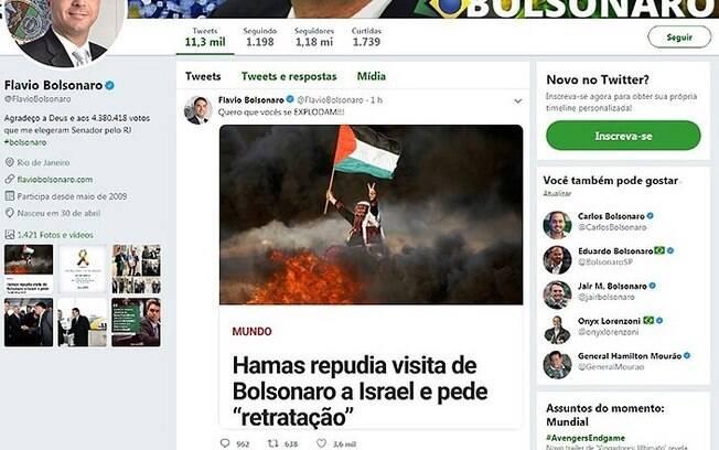 Flávio Bolsonaro deixou resposta ao Hamas e depois apagou o tweet