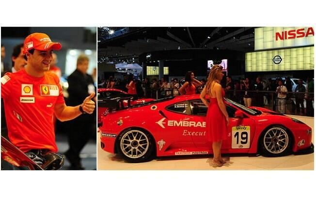 Neste Salão do Automóvel, Felipe Massa estava na Ferrari (antes da mola do Barrichello) e quase foi campeão mudial