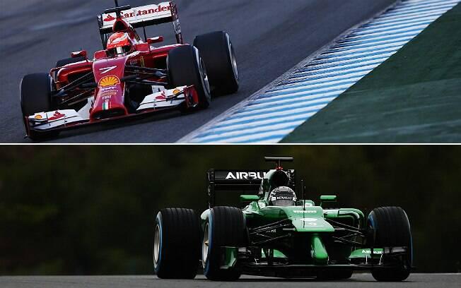 Ferrari e Caterham da temporada 2014 de Fórmula 1
