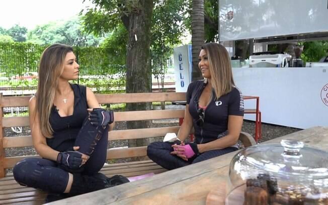 Amanda Françozo e Solange Frazão durante gravação de programa