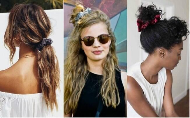 O scrunchie, conhecido popularmente como 'xuxinha de cabelo', está fazendo sucesso quando o assunto é acessório