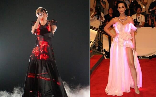 As cantoras Rihanna e Katy Perry já foram pegas pela moda do vestido com LED. Aprovado?