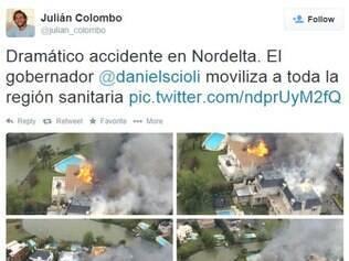 A queda do avião em La Isla de Nordelta provocou um incêndio, atingindo três casas da região