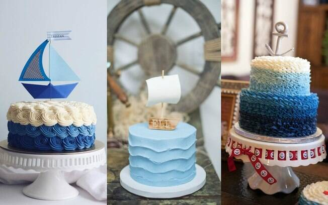 Glacê colorido e um barquinho para colocar sobre o bolo podem ser suficientes para um bolo de marinheiro mais simples