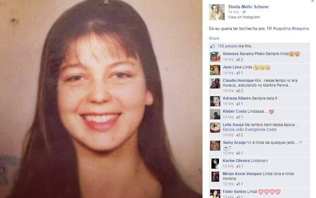 c7c448ca7 Sheila Mello também usou a rede social para mostrar foto do passado. Foto   Reprodução
