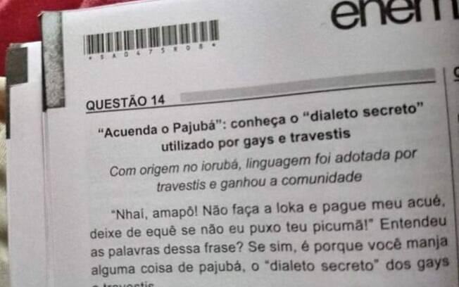 Enem 2018 teve uma questão sobre o 'dialeto secreto de gays e travestis', o que gerou críticas na família Bolsonaro