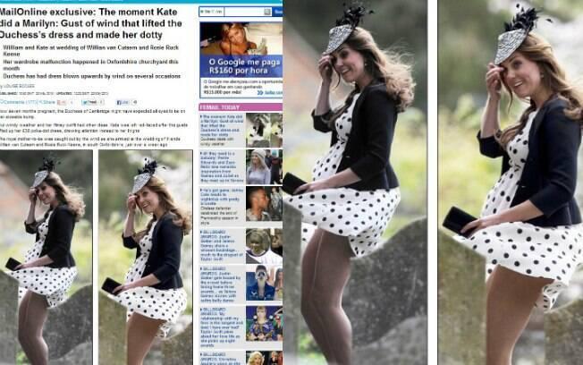 Kate Middleton foi traída pelo vento em um casamento de amigos no último sábado (11). Foto: Reprodução