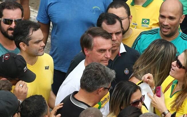 Deputado Jair Bolsonaro compareceu à manifestação anti-Dilma em Brasília. Foto: Dida Sampaio/Estadão Conteúdo - 13.03.16
