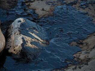 Oil is seen on rocks at Refugio State Beach in Goleta, California, May 19, 2015.  An oil pipeline ruptured dumping oil into the Pacific Ocean near Santa Barbara, California, the US Coast Guard said. The spill was estimated at 21,000 gallons (80,000 liters) of oil, local media reported. AFP PHOTO/ ROBYN BECK