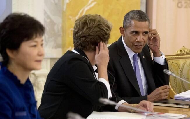 Obama senta-se ao lado de presidente Dilma Rousseff durante encontro do G20 em São Petersburgo, Rússia (5/9/2013)