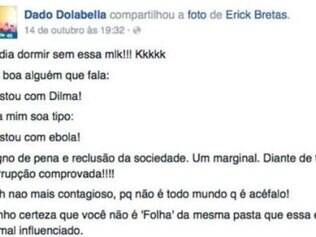 O ator finaliza seu comentário criticando o colunista com as hashtags #gregoriofail e #baixounivel