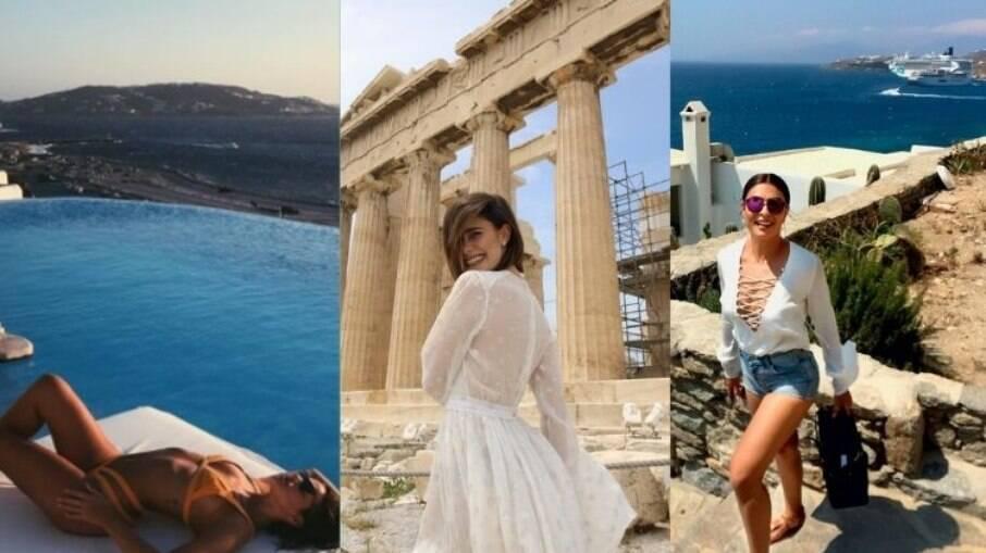 Bruna Marquezine, Fernanda Vasconcellos e Juliana Paes aproveitaram as belezas de Mykonos