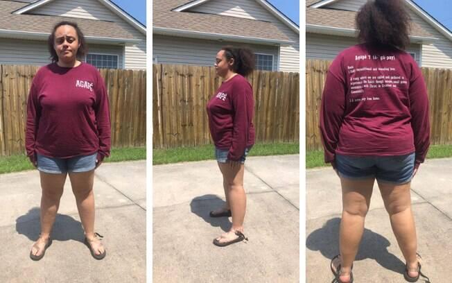 Jenna, de 19 anos, postou fotos do short que usava quando recebeu críticas de uma líder religiosa