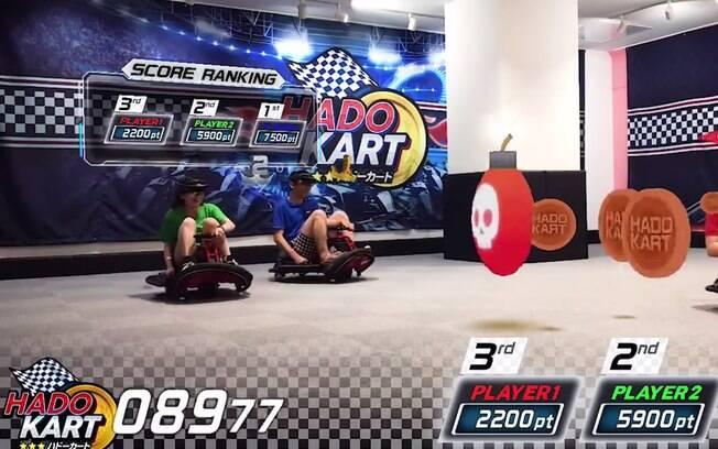 Semelhante ao tradicional Mario Kart, o jogo Hado Kart pode ser testado por pessoas que visitam arcade no Japão
