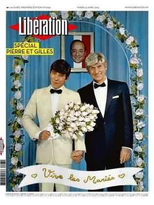 Numa França dividida pela lei do casamento gay, Pierre et Gilles provocaram com esse autorretrato na capa do jornal Libération