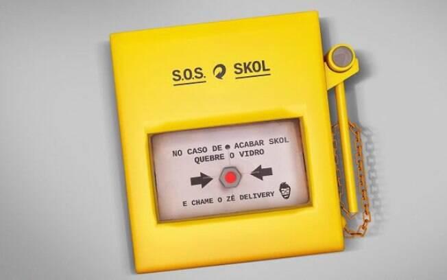 Botão de emergência da Skol