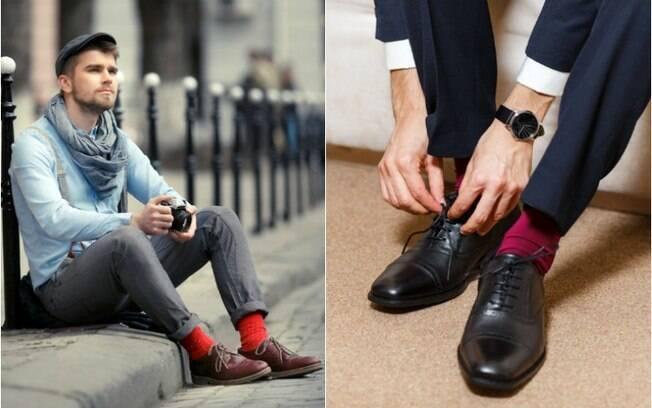 As meias coloridas podem deixar o visual mais descolado, mas é preciso cuidado para não exagerar em alguns looks