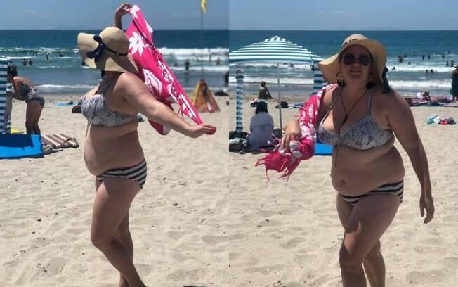 Shelly Proebstel passou por uma chata situação na praia ao andar de biquíni, mas ela não abaixou a cabeça