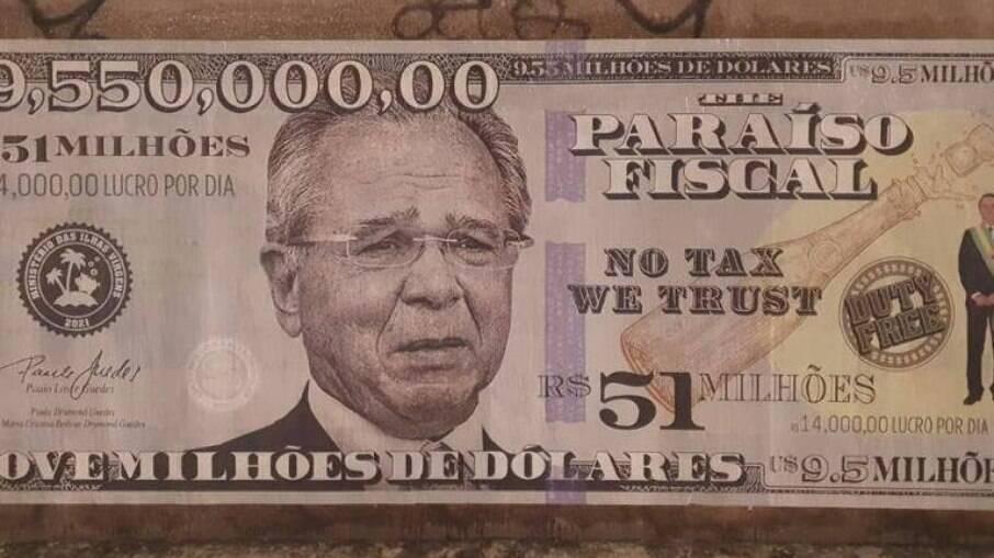 Cartaz de Guedes na Faria Lima