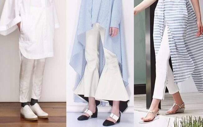 Se você opta por mais conforto e usa sapatos baixos, opte por calças de comprimento mais curto