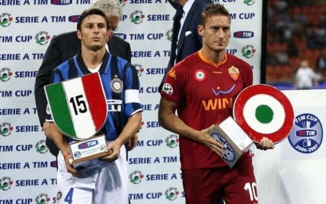 Totti e Zanetti foram eleitos para o Hall da Fama do futebol italiano nessa terça-feira