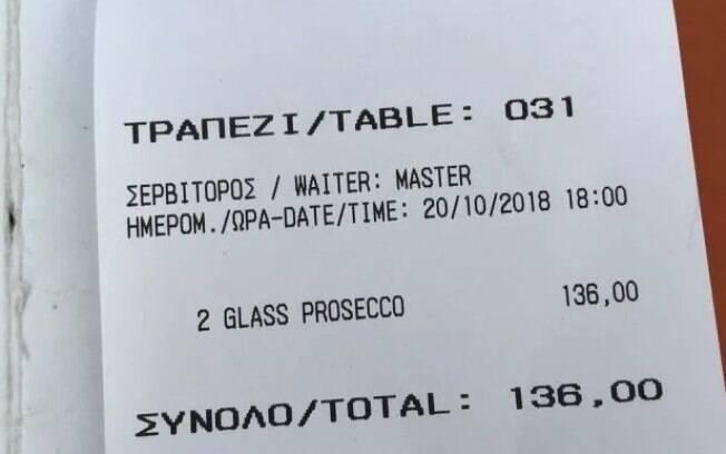 Outros turistas também reclamaram dos preços do restaurante grego