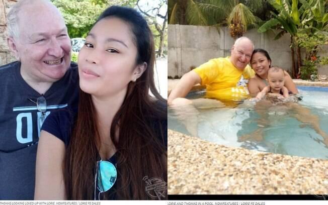 O casal, que tem uma filha, vive um casamento a distância e, apesar da diferença de 48 anos, segue feliz e apaixonado