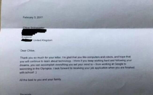 Carta de Sundar Pichai  em resposta ao pedido da garotinha Chloe.