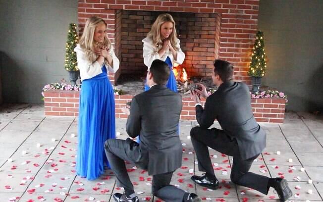 Os irmãos Jeremy e Josh Salyers pediram as gêmeas Britanny e Briana em casamento juntos